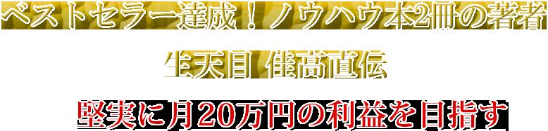 ベストセラー達成!ノウハウ本2冊の著者生天目 佳高直伝 堅実に月20万円の利益を目指す